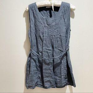 EMMA JONES Blue Linen Lagenlook Pintuck Dress